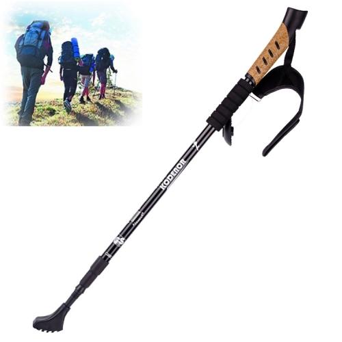 KODENOR Outdoor Mountaineering Portable Foldable Aluminium Alloy Straight Handle Alpenstocks Trekking Poles, Length : 66-135CM (Black)