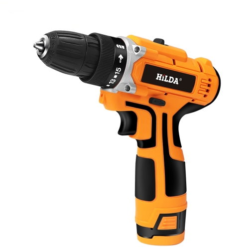 HILDA-16.8V Electric Drill with Lithium Battery Rechargeable 12V Two-Speed ​​Electric Cordless Screwdriver(Orange)