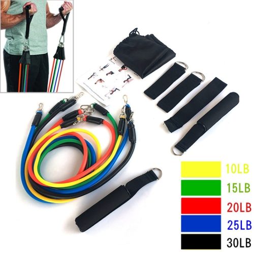 E1107 11 in 1 Natural Latex Five-point Buckle Household Pull Rope Resistance Band Fitness Equipment Set фото