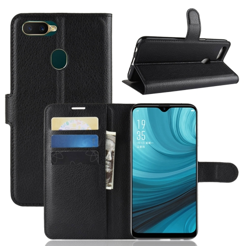 Litchi Texture Horizontal Flip Leather Case For OPPO A7 / A7X ,With Holder & Wallet & Card Slots(Black)