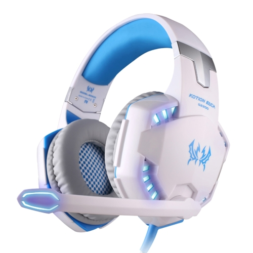 KOTION EACH G2200 USB 7.1 Surround Sound Vibration Game Gaming Headphone Computer Headset Earphone Headband with Microphone LED Light,Cable Length: About 2.2m(White + Blue)