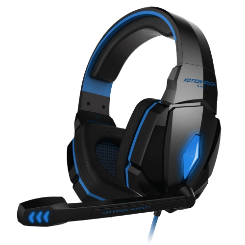 KOTION EACH G4000 Stereo Gaming Headphone Headset Headband with Mic Volume Control LED Light for PC Gamer,Cable Length: About 2.2m(Blue + Black)