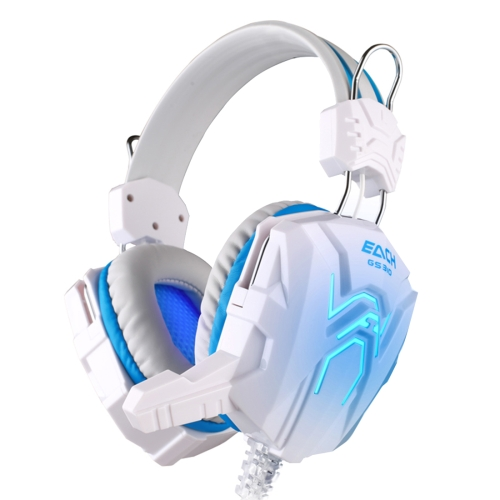 Buy KOTION EACH GS310 Stereo Gaming Headphone Computer Game Headset Headband with Microphone Glaring LED Light,Cable Length: About 2.2m (Blue + White) for $11.31 in SUNSKY store