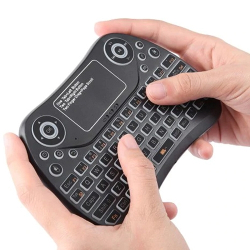 S913 2.4GHz Mini Smart Colorful Backlit Rechargeable Wireless Gaming Keyboard for Tablet / PC / Android TV Case, with Touchpad & Air Mouse