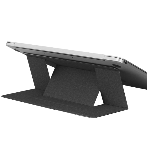 Build-in Magnetic Design Adjustable Automatic Adsorption Laptop PU Stand (Black) фото