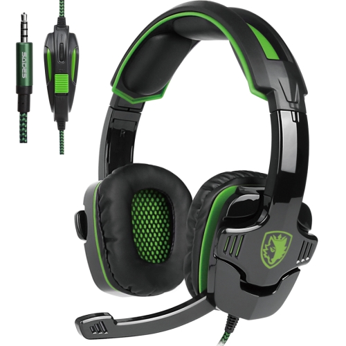 SADES SA-930 3.5mm Gaming Headset Wired Headphone with Wire Control + Mic for PS4, PC, Laptop, Mobile Phones(Green) ihens5 k2 usb 7 1 channel sound stereo gaming headphones over ear gamer headphone headset with mic led light for computer pc ps4