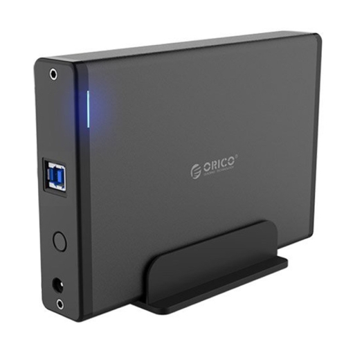 ORICO 7688U3 Vertical Aluminum External Hard Drive Enclosure Storage Case Hard Drive Dock for 3.5 inch SATA HDD, Black
