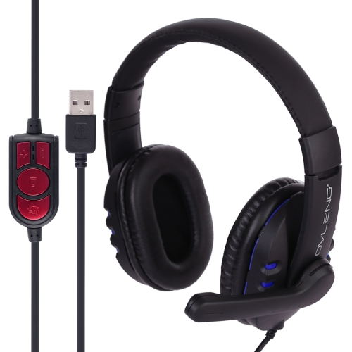 OVLENG Q7 Stereo Headset with Mic & Volume Control Key for Computer, Cable Length: 2m(Blue)