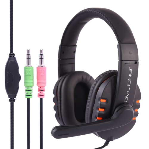 OVLENG X6 Stereo Headset with Mic & 3.5mm Plug & Volume Control Key for Computer, Cable Length: 1.8-2m(Orange)