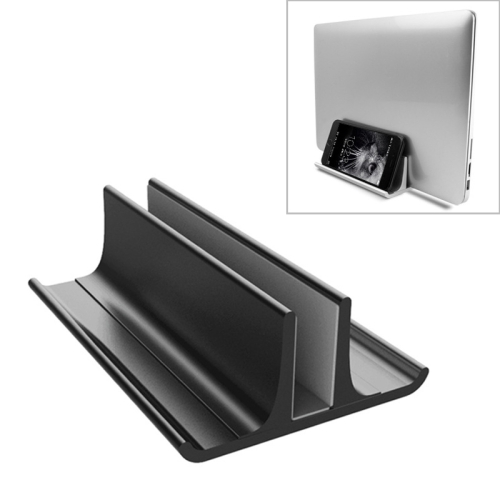 Universal Portable Aluminum Alloy Single Slot Width Adjustable Laptop Vertical Radiating Storage Stand Base(Black)