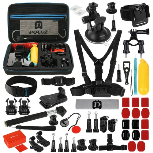 PULUZ 53 in 1 Accessories Total Ultimate Combo Kits with EVA Case (Chest Strap + Suction Cup Mount + 3-Way Pivot Arms + J-Hook Buckle + Wrist Strap + Helmet Strap + Extendable Monopod + Surface Mounts + Tripod Adapters + Storage Bag + Handlebar Mount) for GoPro HERO8 Black /7 /6 /5 /5 Session /4 Session /4 /3+ /3 /2 /1, Xiaoyi and Other Action Cameras фото