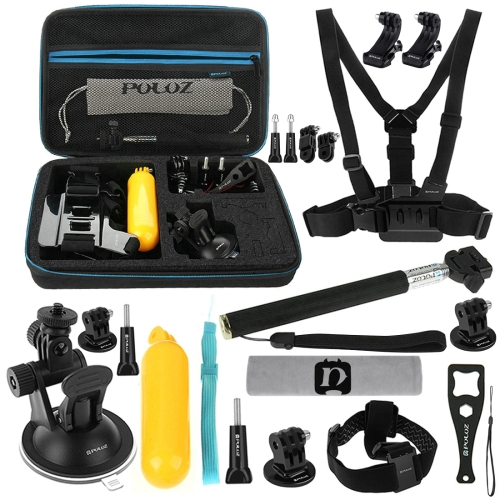 PULUZ 20 in 1 Accessories Combo Kits with EVA Case (Chest Strap + Head Strap + Suction Cup Mount + 3-Way Pivot Arm + J-Hook Buckles + Extendable Monopod + Tripod Adapter + Bobber Hand Grip + Storage Bag + Wrench) for GoPro NEW HERO /HERO6 /5 /5 Session /4 Session /4 /3+ /3 /2 /1, Xiaoyi and Other Action Cameras