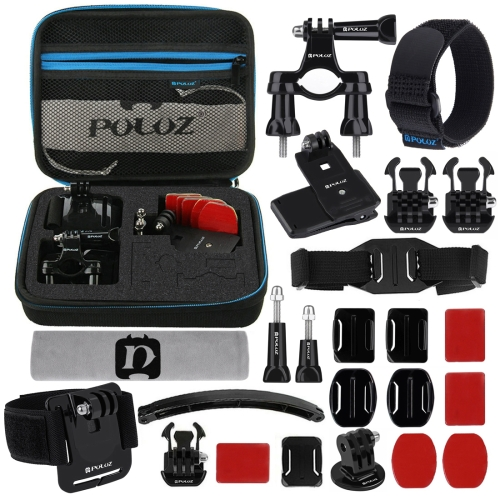 PULUZ 24 in 1 Bike Mount Accessories Combo Kits with EVA Case (Wrist Strap + Helmet Strap + Extension Arm + Quick Release Buckles + Surface Mounts + Adhesive Stickers + Tripod Adapter + Storage Bag + Handlebar Mount + Screws) for GoPro HERO7 /6 /5 /5 Sess