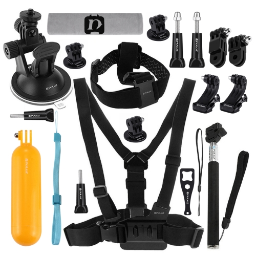 PULUZ 20 in 1 Accessories Combo Kits (Chest Strap + Head Strap + Suction Cup Mount + 3-Way Pivot Arm + J-Hook Buckles + Extendable Monopod + Tripod Adapter + Bobber Hand Grip + Storage Bag + Wrench) for GoPro NEW HERO /HERO6 /5 /5 Session /4 Session /4 /3