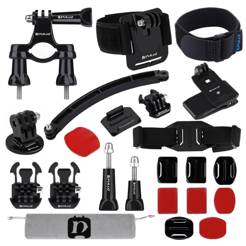 PULUZ 24 in 1 Bike Mount Accessories Combo Kits (Wrist Strap + Helmet Strap + Extension Arm + Quick Release Buckles + Surface Mounts + Adhesive Stickers + Tripod Adapter + Storage Bag + Handlebar Mount + Screws) for GoPro NEW HERO /HERO7 /6 /5 /5 Session
