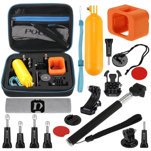 PULUZ 18 in 1 Accessories Combo Kits with EVA Case (Extendable Monopod + Bobber Hand Grip + Quick Release Buckle + J-Hook Buckle Mount + Floating Cover + Surf Board Mount + Screws + Safety Tethers Strap + Storage Bag) for GoPro HERO5 Session /4 Session /
