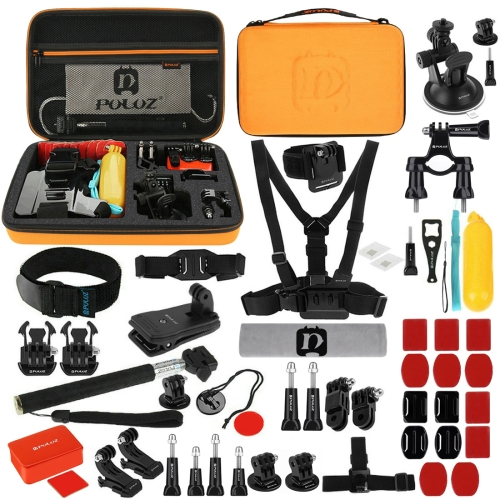PULUZ 53 in 1 Accessories Total Ultimate Combo Kits with Orange EVA Case (Chest Strap + Suction Cup Mount + 3-Way Pivot Arms + J-Hook Buckle + Wrist Strap + Helmet Strap + Extendable Monopod + Surface Mounts + Tripod Adapters + Storage Bag + Handlebar Mou