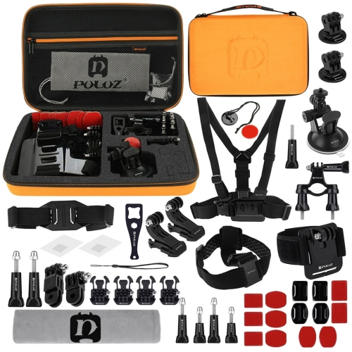 PULUZ 45 in 1 Accessories Ultimate Combo Kits with Orange EVA Case (Chest Strap + Suction Cup Mount + 3-Way Pivot Arms + J-Hook Buckle + Wrist Strap + Helmet Strap + Surface Mounts + Tripod Adapter + Storage Bag + Handlebar Mount + Wrench) for GoPro HERO7