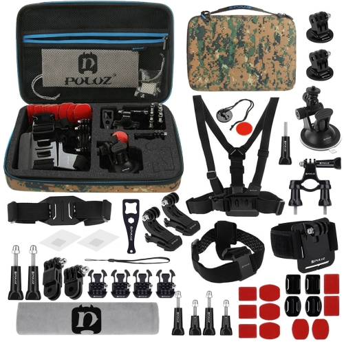PULUZ 45 in 1 Accessories Ultimate Combo Kits with Camouflage EVA Case (Chest Strap + Suction Cup Mount + 3-Way Pivot Arms + J-Hook Buckle + Wrist Strap + Helmet Strap + Surface Mounts + Tripod Adapter + Storage Bag + Handlebar Mount + Wrench) for GoPro H