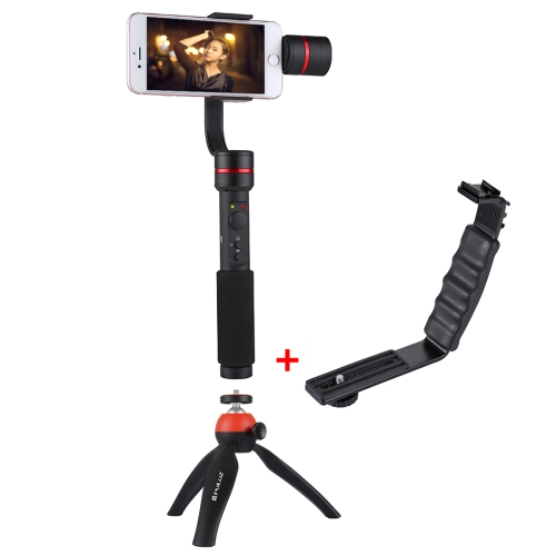 PULUZ G1 3-Axis Stabilizer Handheld Gimbal with Clamp Mount and Tripod Holder + L-Shape Bracket with Tripod Holder