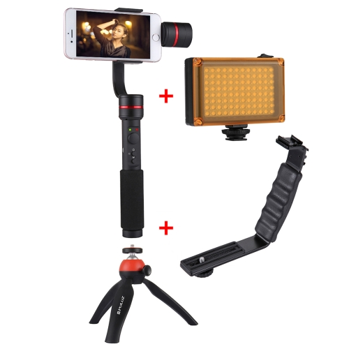 PULUZ G1 3-Axis Stabilizer Handheld Gimbal with Clamp Mount and Tripod Holder + L-Shape Bracket + LED Studio Light with Tripod Holder