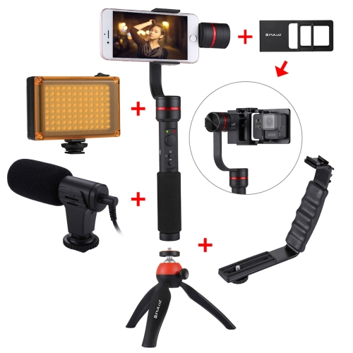 PULUZ G1 3-Axis Stabilizer Handheld Gimbal with Clamp Mount and Tripod Holder + L-Shape Bracket + LED Studio Light + Video Shotgun Microphone + Switch Mount Plate(Red) brushless gimbal metal holder bracket for dslr beholder ds1 gimbal ms1 ec1