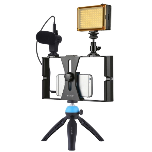 [US Stock] PULUZ 4 in 1 Vlogging Live Broadcast LED Selfie Light Smartphone Video Rig Kits with Microphone + Tripod Mount + Cold Shoe Tripod Head for iPhone, Galaxy, Huawei, Xiaomi, HTC, LG, Google, and Other Smartphones(Blue)