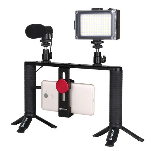 PULUZ 4 in 1 Vlogging Live Broadcast LED Selfie Light Smartphone Video Rig Handle Stabilizer Aluminum Bracket Kits with Microphone + Tripod Mount + Cold Shoe Tripod Head