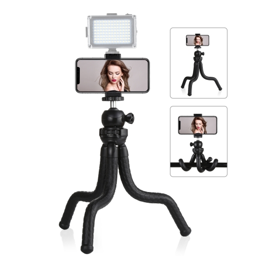 PULUZ Mini Octopus Flexible Tripod Holder with Ball Head & Phone Clamp + Tripod Mount Adapter & Long Screw for SLR Cameras, GoPro, Cellphone, Size: 30cmx5cm