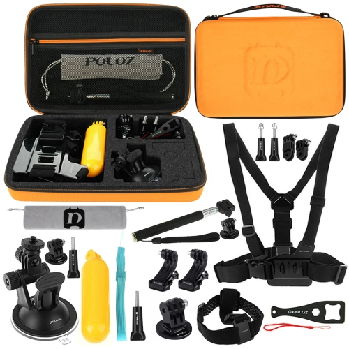 [US Stock] PULUZ 20 in 1 Accessories Combo Kits with Orange EVA Case (Chest Strap + Head Strap + Suction Cup Mount + 3-Way Pivot Arm + J-Hook Buckles + Extendable Monopod + Tripod Adapter + Bobber Hand Grip + Storage Bag + Wrench) for GoPro HERO7 /6 /5 /5