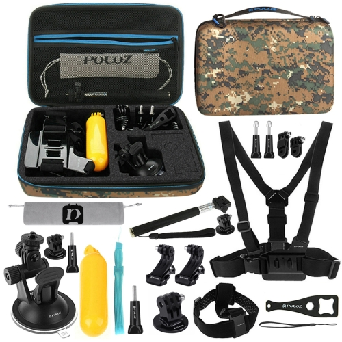 PULUZ 20 in 1 Accessories Combo Kit with Camouflage EVA Case (Chest Strap + Head Strap + Suction Cup Mount + 3-Way Pivot Arm + J-Hook Buckles + Extendable Monopod + Tripod Adapter + Bobber Hand Grip + Storage Bag + Wrench) for GoPro NEW HERO /HERO6 /5 /5