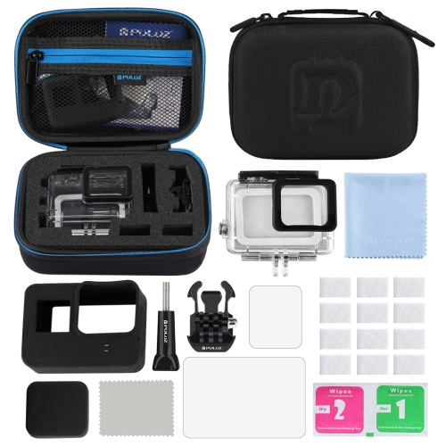 PULUZ 12 in 1 Surfing Accessories Combo Kits with Small EVA Case (Diving Case + Silicone Case + Lens HD Screen Protector + LCD Dispaly Tempered Glass Film + Anti-Fog Inserts + Clean Cloth) for GoPro HERO6/5