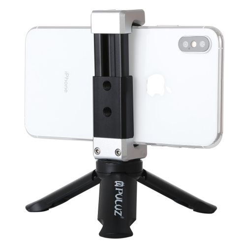 PULUZ Folding Plastic Tripod + Aluminum Alloy Clamp Bracket with Cold Shoe for iPhone, Galaxy, Huawei, Xiaomi, Sony, HTC, Google and other Smartphones