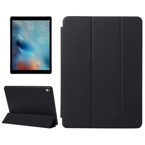 Horizontal Flip Solid Color Leather Case with Three-folding Holder & Wake-up / Sleep Function for iPad Pro 9.7 inch(Black)