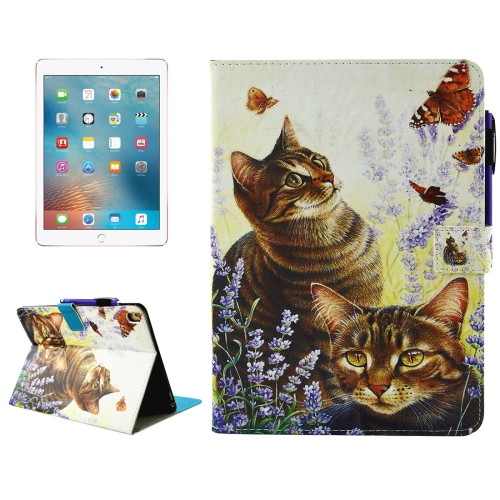 Buy For iPad Pro 9.7 inch Cats and Butterflies Pattern Horizontal Flip Leather Case with Holder & Wallet & Card Slots & Sleep / Wake-up Function & Pen Slot for $4.74 in SUNSKY store
