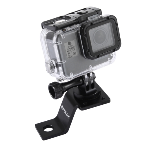 PULUZ Aluminum Alloy Motorcycle Fixed Holder Mount with Tripod Adapter & Screw for GoPro NEW HERO /HERO6 /5 Session /5 /4 Session /4 /3+ /3 /2 /1, Sony RX0, Other Sport Cameras(Black)