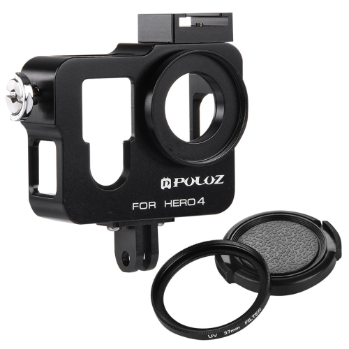 Buy PULUZ Housing Shell CNC Aluminum Alloy Protective Cage with 37mm UV Lens Filter & Lens Cap for GoPro HERO4, Black for $10.67 in SUNSKY store
