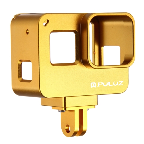 PULUZ for GoPro NEW HERO /HERO6 /5 Housing Shell CNC Aluminum Alloy Protective Cage with Insurance Frame(Gold)