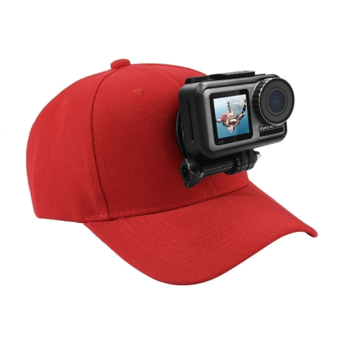 PULUZ Baseball Hat with J-Hook Buckle Mount & Screw for GoPro HERO6 /5 /5 Session /4 Session /4 /3+ /3 /2 /1, Xiaoyi and Other Action Cameras(Red)