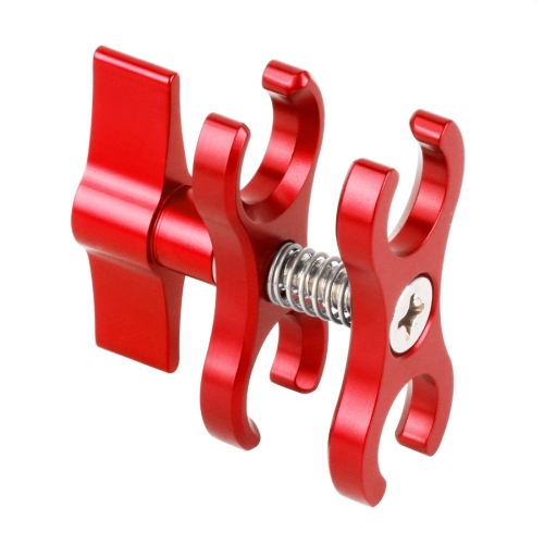 Color : Red CAOMING Dual Ball Clamp Open Hole Diving Camera Bracket CNC Aluminum Spring Flashlight Clamp for Diving Underwater Photography System Durable