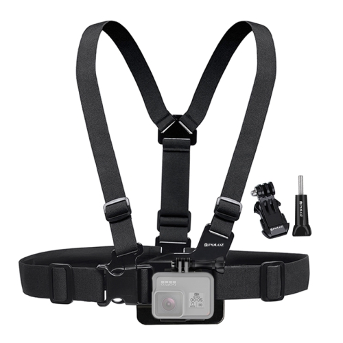 [US Stock] PULUZ Adjustable Body Mount Belt Chest Strap with J Hook Mount & Long Screw for GoPro NEW HERO /HERO6 /5 /5 Session /4 Session /4 /3+ /3 /2 /1, Xiaoyi and Other Action Cameras