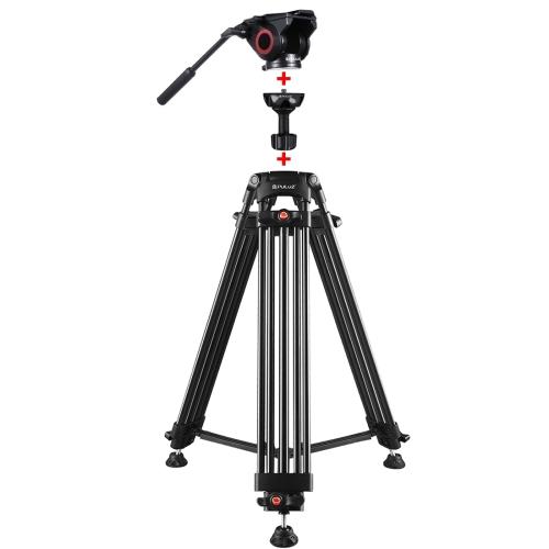 PULUZ 3 in 1 (Tripod + Bowl Adapter + Black Fluid Drag Head) Heavy Duty Video Camcorder Aluminum Alloy Tripod Mount Kit for DSLR / SLR Camera, Adjustable Height: 62-152cm