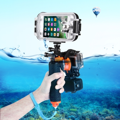 3 in 1 Pistol Trigger Set (Shutter Trigger + Phone Clamp + Floating Hand Grip Diving Buoyancy Stick) with Adjustable Anti-lost Strap & Screw & Tripod Adapter for iPhone, Galaxy, Sony, and other Smartphnes, GoPro