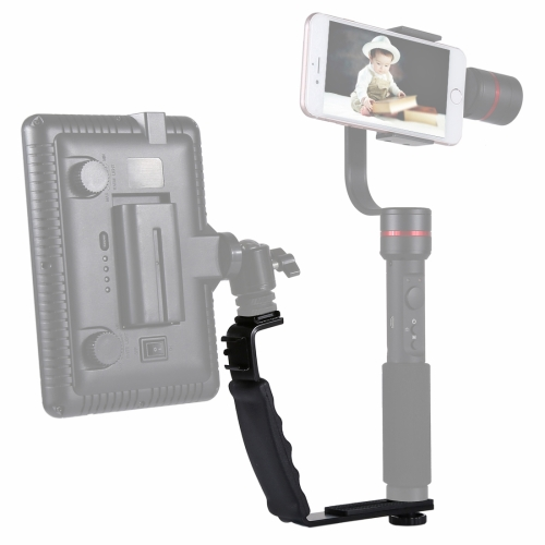 PULUZ L-Shape Bracket Handheld Grip Holder with Dual Side Cold Shoe Mounts for Video Light Flash, DSLR Camera