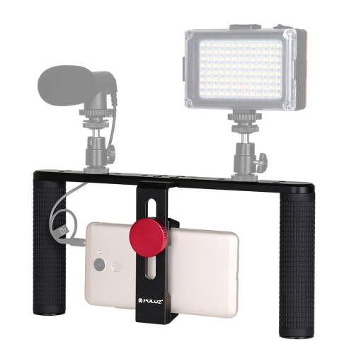 PULUZ Smartphone Video Rig Filmmaking Recording Handle Stabilizer Aluminum Bracket for iPhone, Galaxy, Huawei, Xiaomi, HTC, LG, Google, and Other Smartphones x cam sight2 2 axis smartphone handheld stabilizer mobile phone brushless gimbal with bluetooth for iphone samsung xiaomi nexus