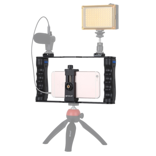 PULUZ Vlogging Live Broadcast Smartphone Cage Video Rig Filmmaking Recording Handle Stabilizer Bracket for iPhone, Galaxy, Huawei, Xiaomi, HTC, LG, Google, and Other Smartphones фото