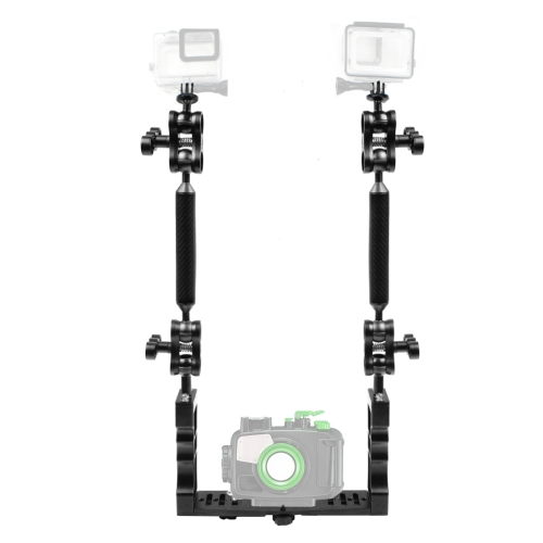 CAOMING Dual Handle Aluminium Tray Stabilizer with Dual Ball Aluminum Alloy Clamp /& Floating Arm for Underwater Camera Housings Durable Color : Blue