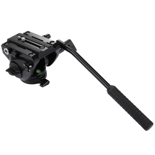 PULUZ Heavy Duty Video Camera Tripod Action Fluid Drag Head with Sliding Plate for DSLR & SLR Cameras, Large Size(Black)