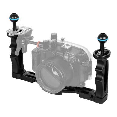 PULUZ Dual Handles Aluminium Alloy Tray Stabilizer for Underwater Camera Housings(Black)