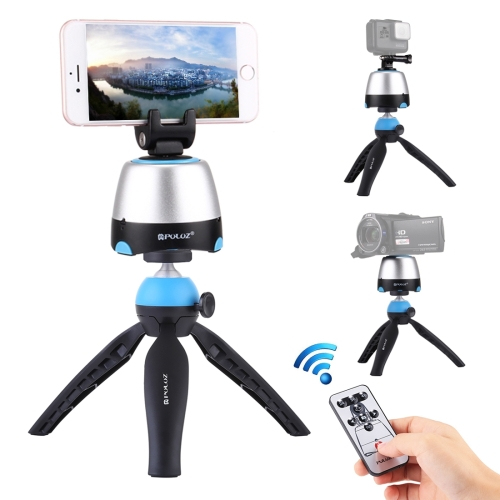 PULUZ Electronic 360 Degree Rotation Panoramic Head + Tripod Mount + GoPro Clamp + Phone Clamp with Remote Controller for Smartphones, GoPro, DSLR Cameras(Blue)